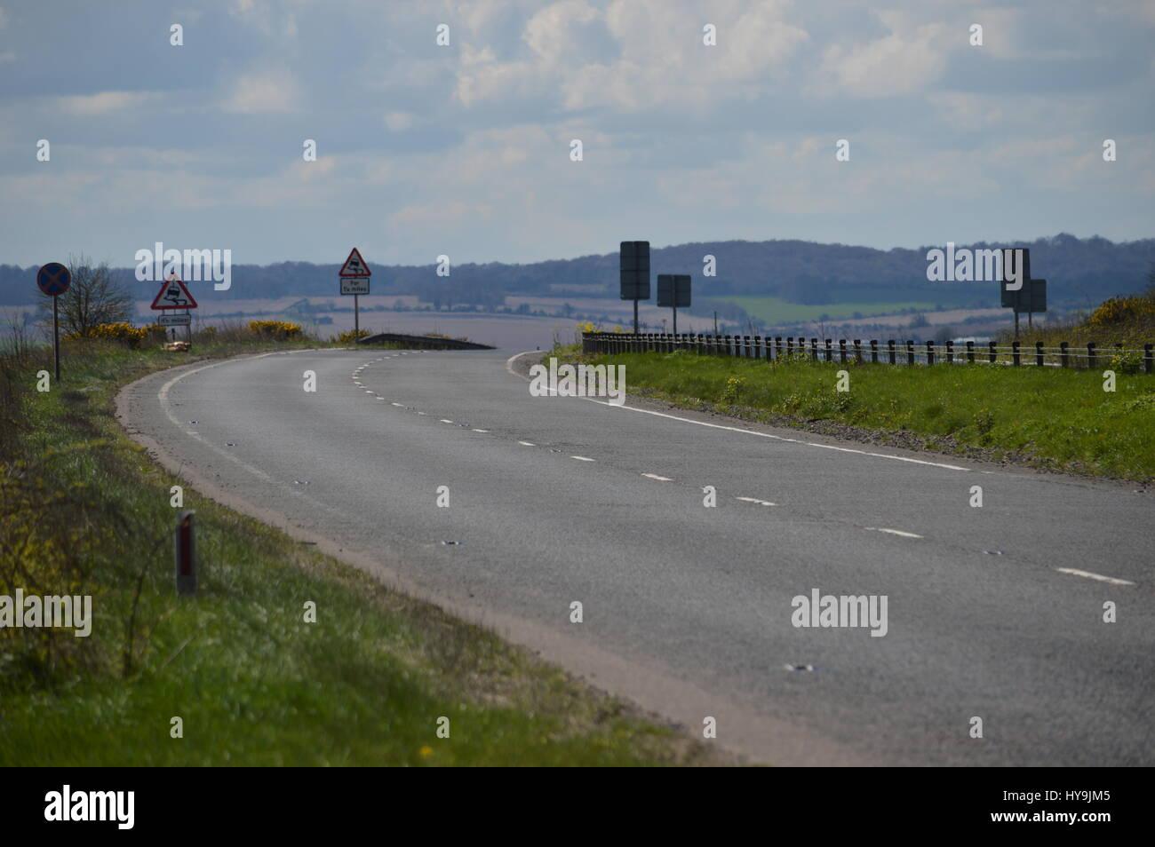 Empty dual carriageway in Devon, UK - Stock Image