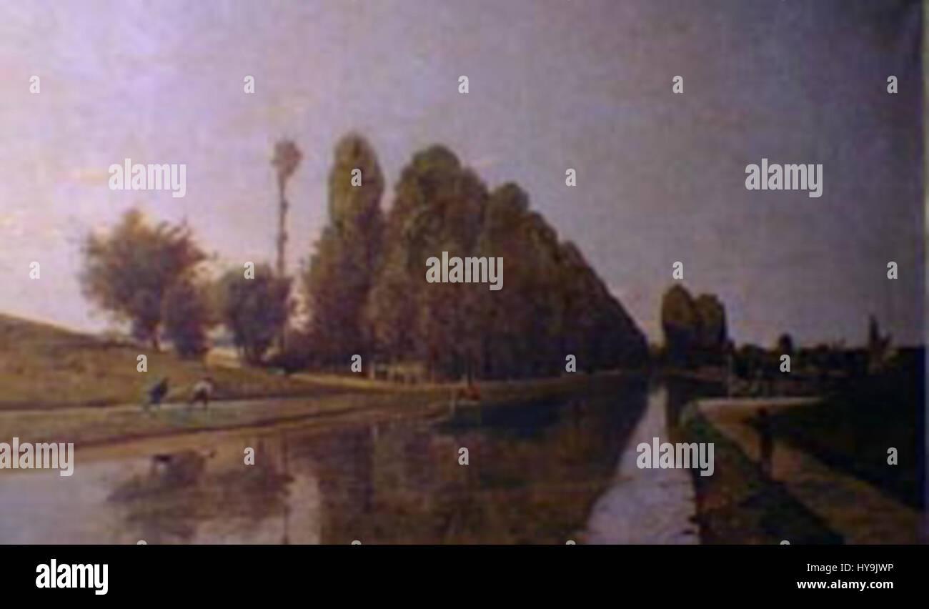 Henri Harpignies   El Canal de Briare Loire - Stock Image