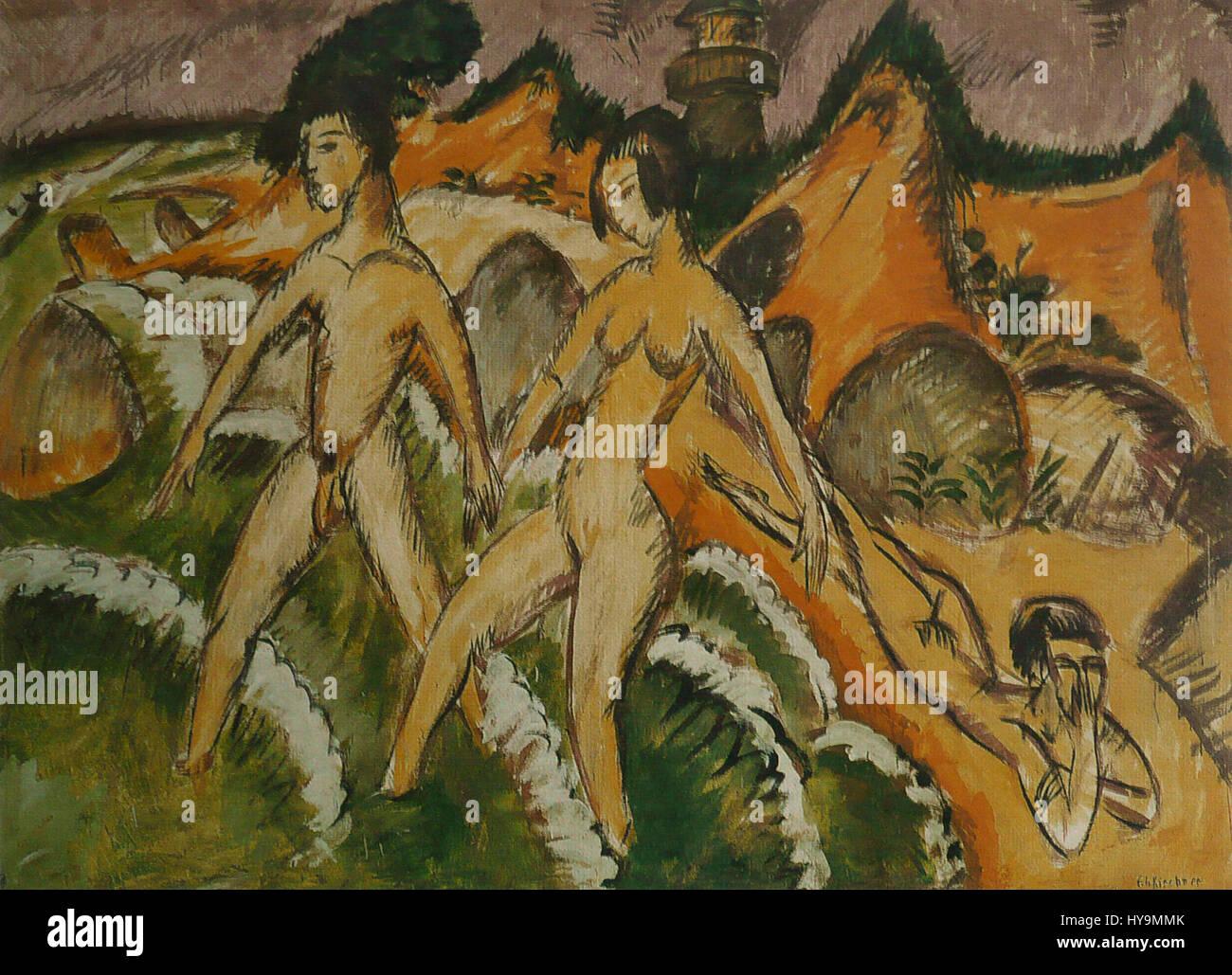 Ernst Ludwig Kirchner   Personnes entrant dans la mer - Stock Image