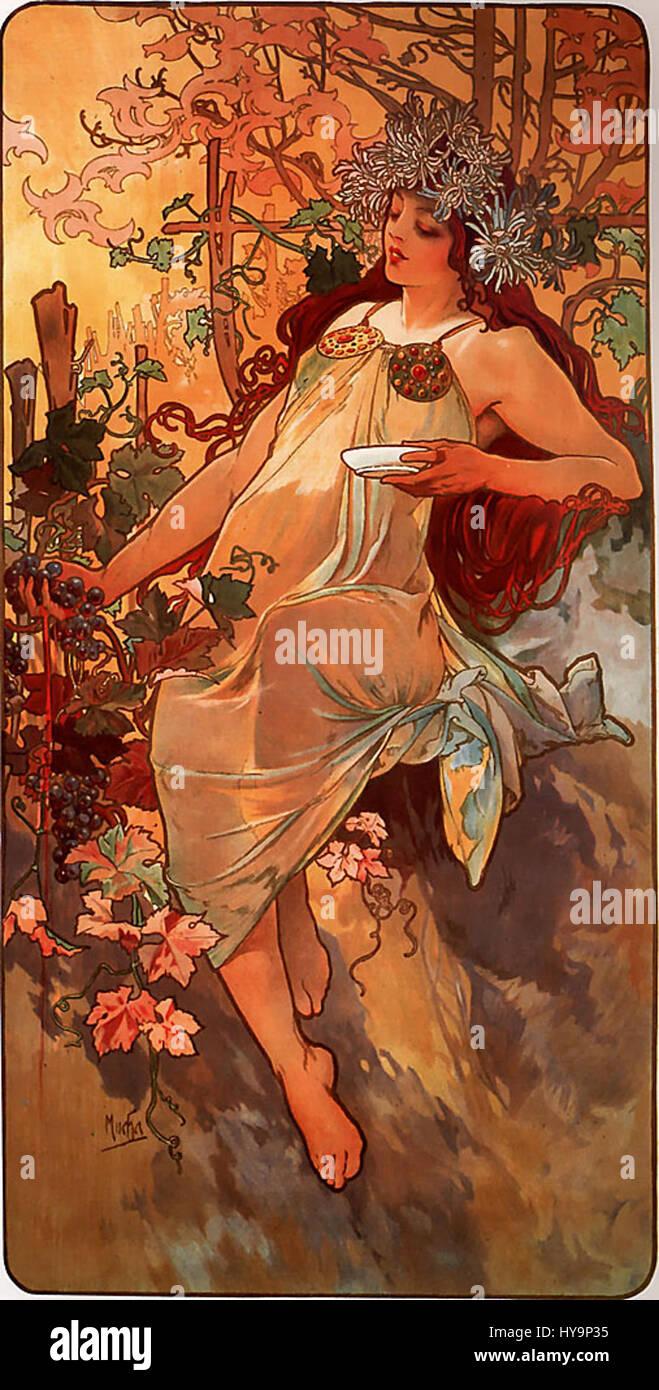 Alfons Mucha   1896   Autumn - Stock Image