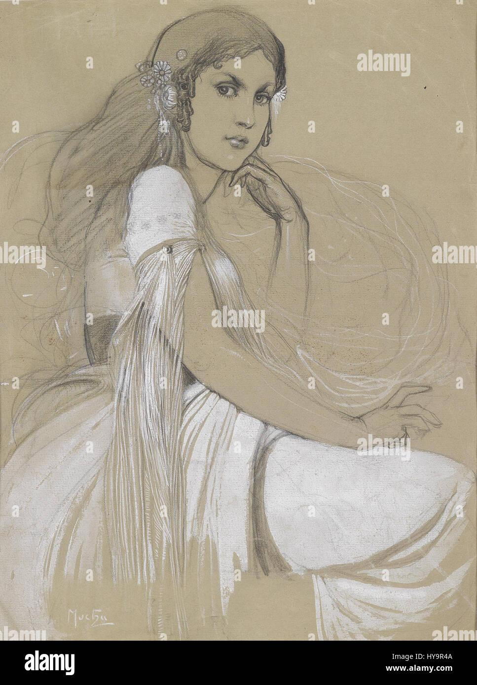 Jaroslava Mucha by Alfons Mucha - Stock Image