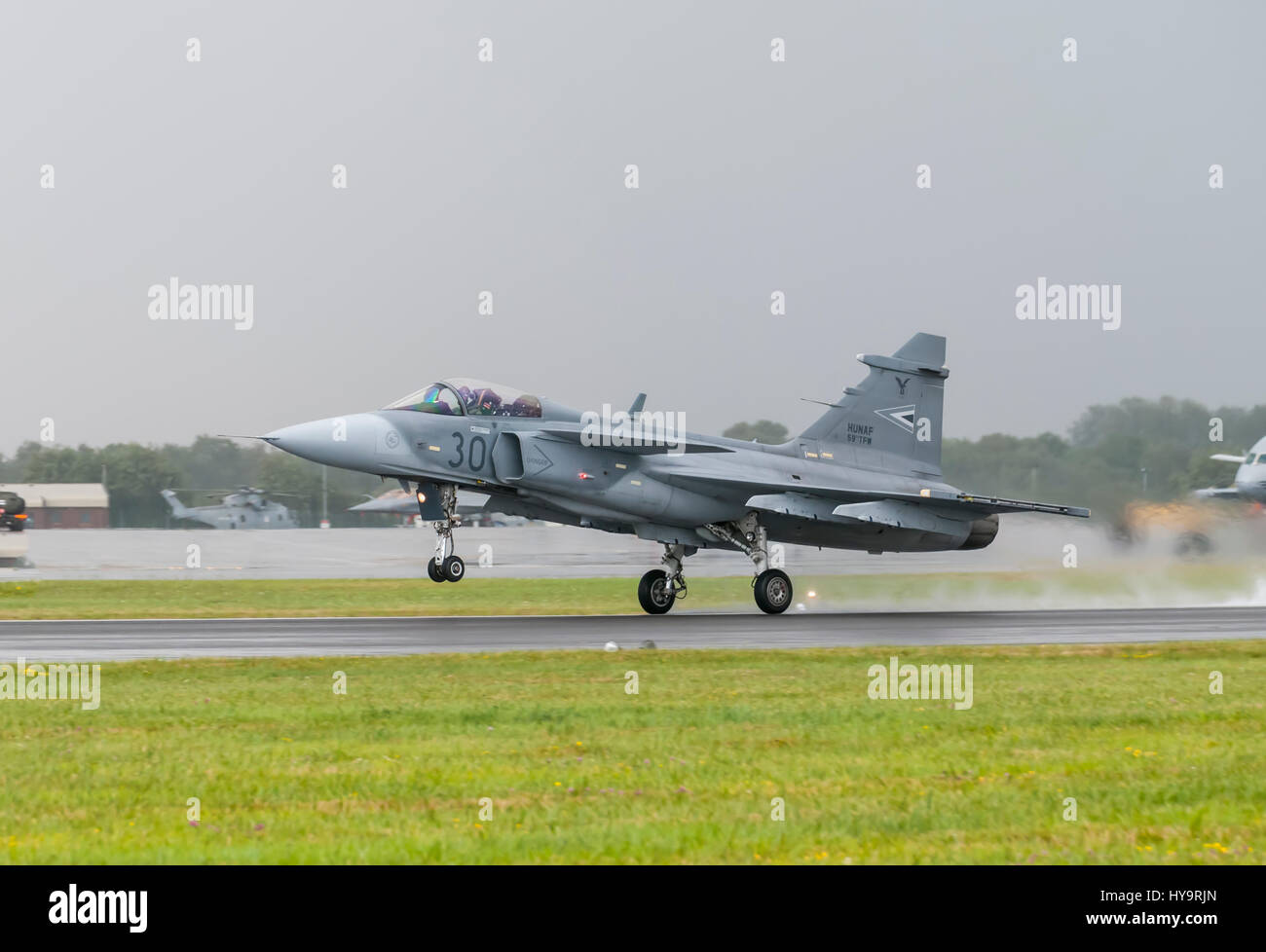Saab JAS 39 Gripen is a light single-engine multirole fighter aircraft manufactured by the Swedish aerospace company Stock Photo