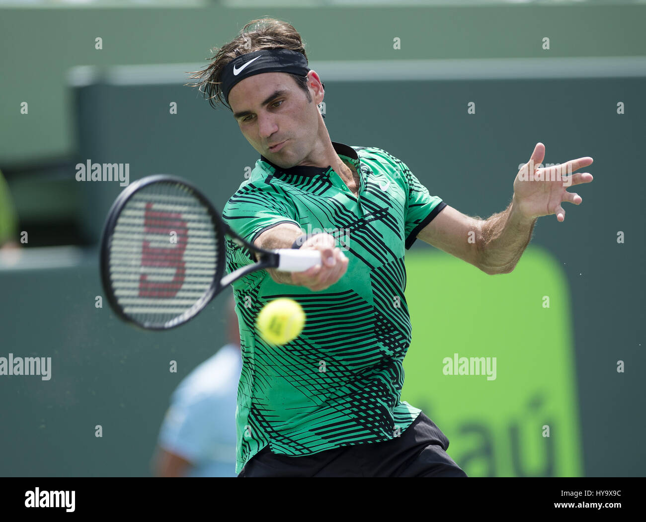 April 2, 2017 - Miami, FL, United States - BISCAYNE, FL - APRIL 02: Roger Federer (SUI) in action here, plays Rafael Nadal (ESP) at the  2017 Miami Open tennis match on April 2, 2017, at the Tennis Center at Crandon Park in Key Biscayne, FL. (Credit Image: © Andrew Patron via ZUMA Wire) Stock Photo