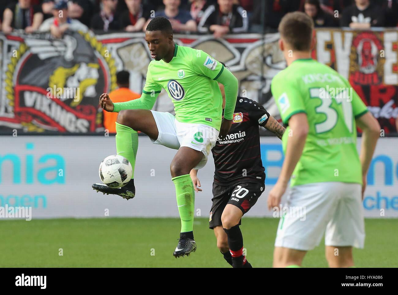 Leverkusen, Germany2nd April 2017, Bundesliga, matchday 2, Bayer 04 Leverkusen vs VfL Wolfsburg: Riechedly Bazoer - Stock Image