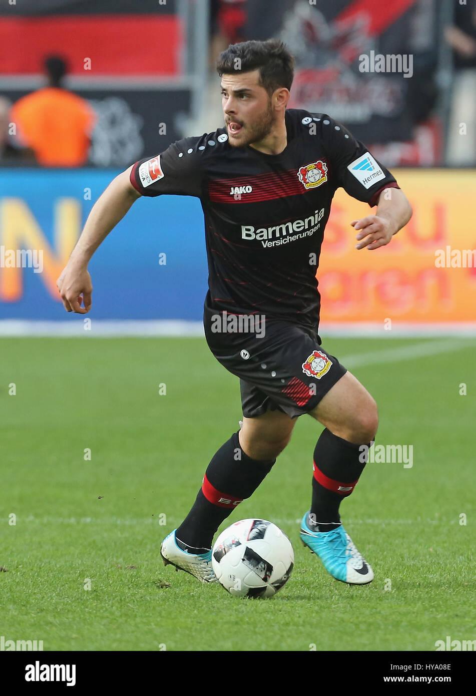Leverkusen, Germany2nd April 2017, Bundesliga, matchday 2, Bayer 04 Leverkusen vs VfL Wolfsburg: Kevin Volland (B04) Stock Photo