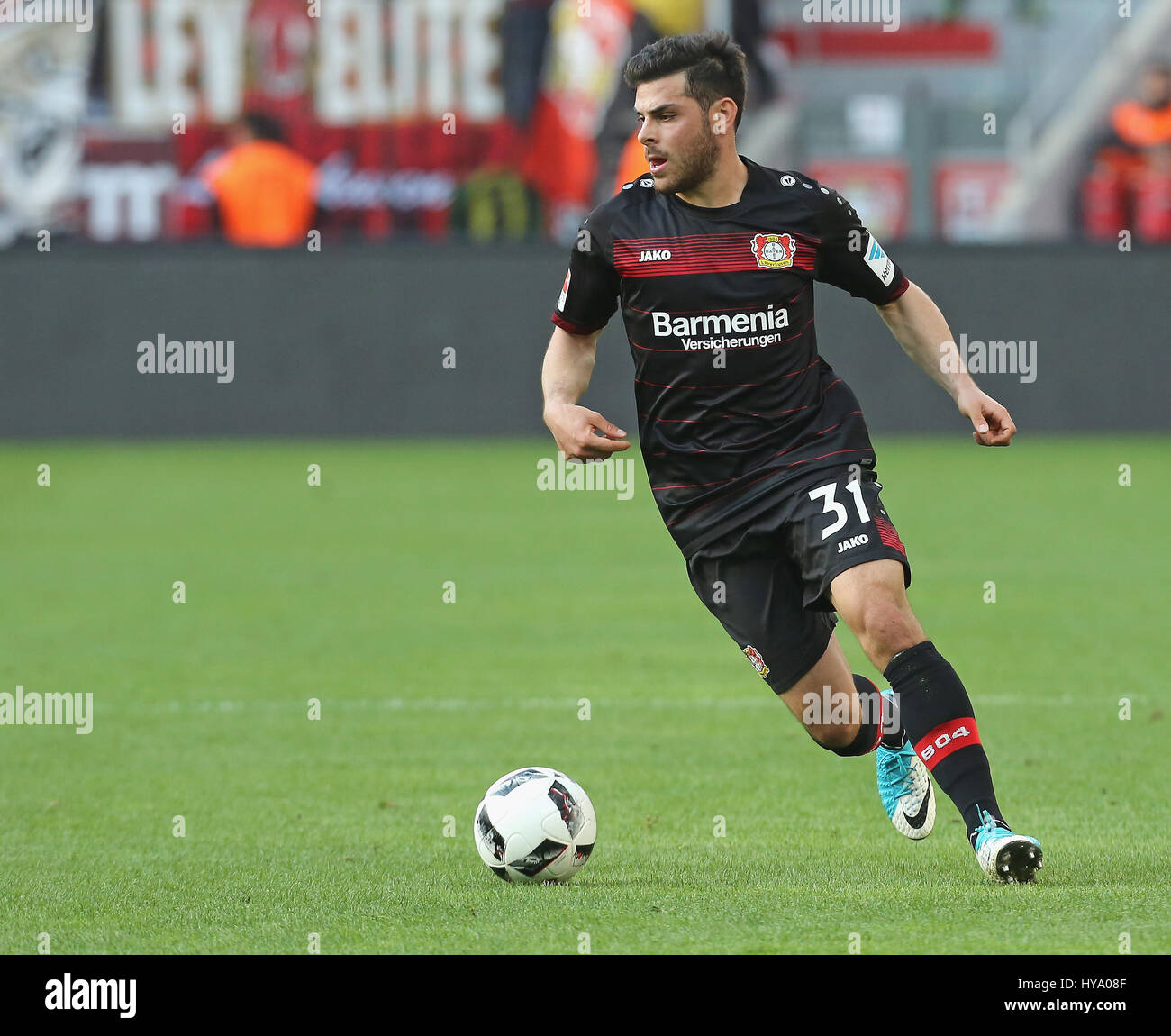 Leverkusen, Germany2nd April 2017, Bundesliga, matchday 2, Bayer 04 Leverkusen vs VfL Wolfsburg: Kevin Volland (B04) Stock Photo