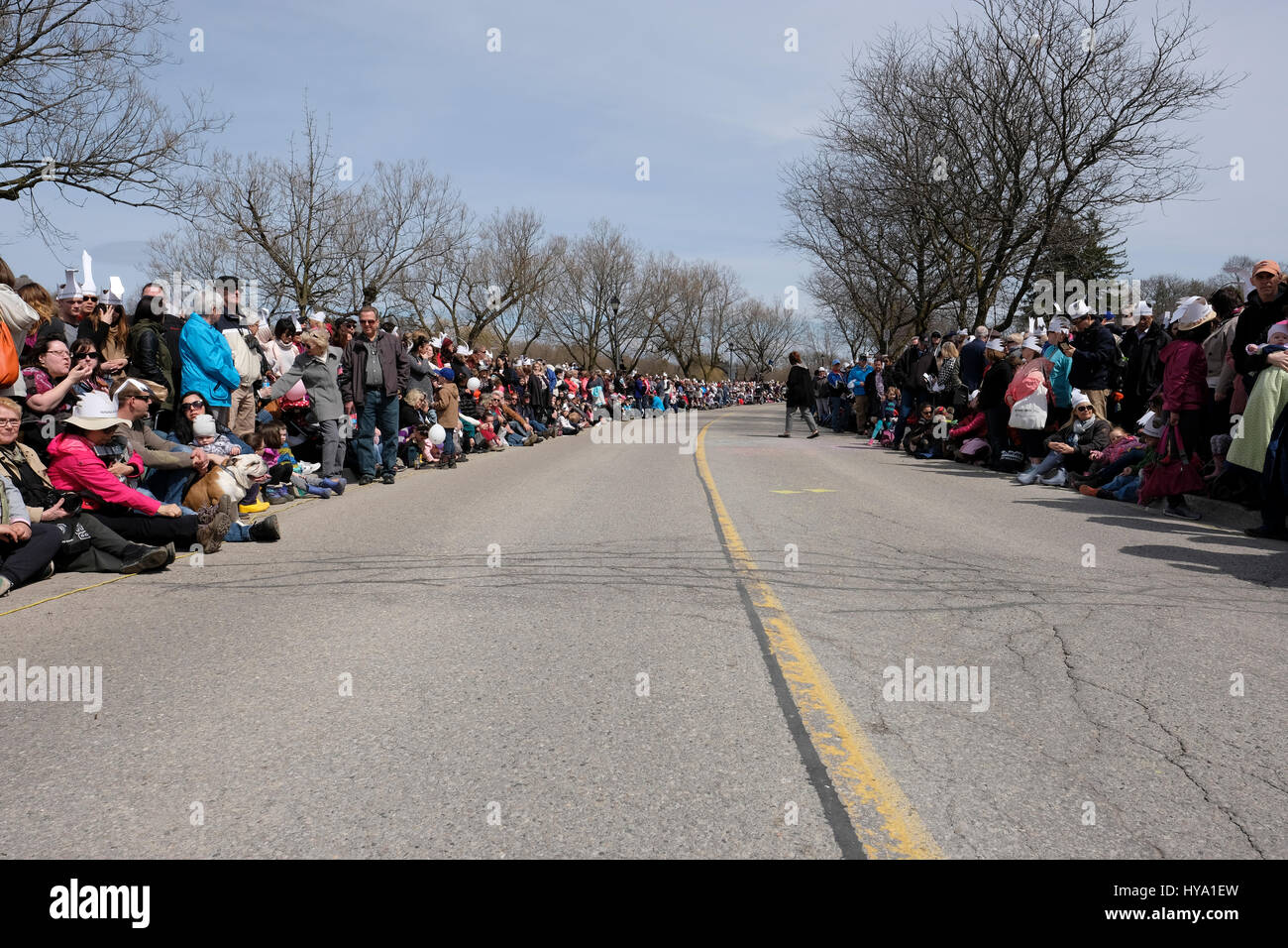 Stratford, Ontario, Canada, 2nd Apr, 2017. Thousands of people gather for the Stratford's Annual Swan Parade, - Stock Image