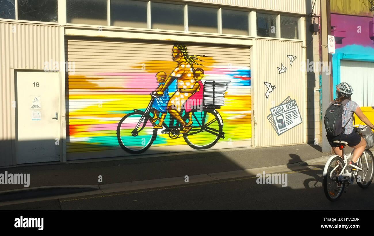 Adelaide, Australia. 3rd Apr, 2017. Colourful art murals are Stock ...