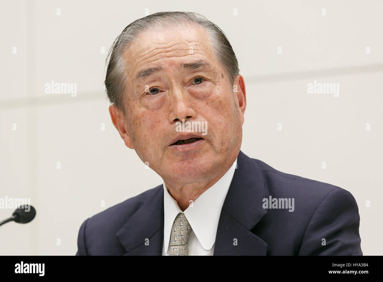 Tokyo Electric Power Co (TEPCO) Holdings current chairman Fumio Sudo, speaks during a news conference at TEPCO's - Stock Image