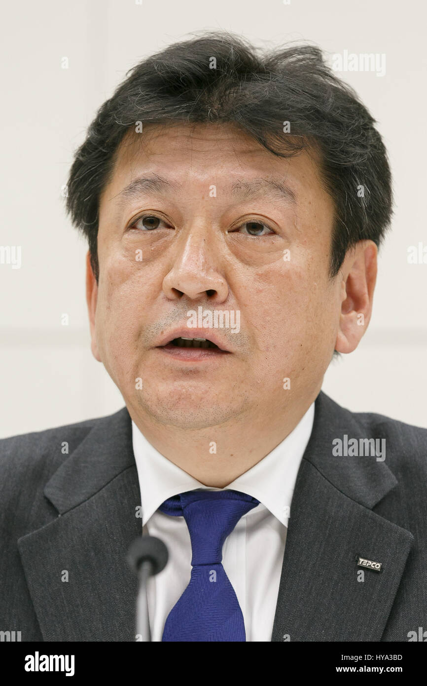Tokyo Electric Power Co (TEPCO) Holdings new president Tomoaki Kobayakawa, speaks during a news conference at TEPCO's - Stock Image