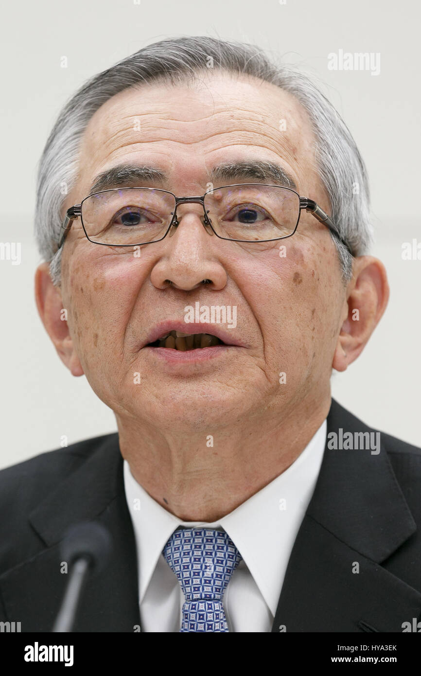 Tokyo Electric Power Co (TEPCO) Holdings new chairman Takashi Kawamura, speaks during a news conference at TEPCO's - Stock Image