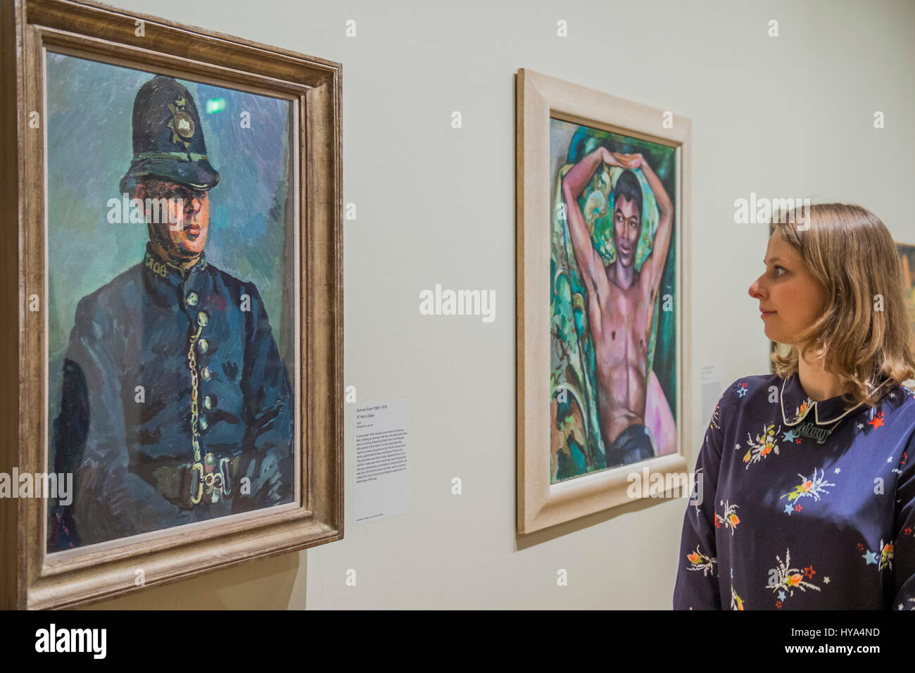 London, UK. 3rd Apr, 2017. PC Harry Daley by Duncan Grant and Portrait of Pat Neslon, 1930's, by Edward Wolfe - Stock Image