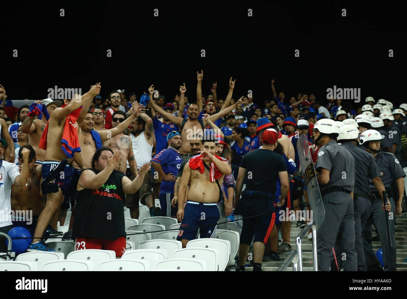 Fans of Universidad de Chile provoke Corinthians fans before the match validated by the first round of the 2017 Stock Photo