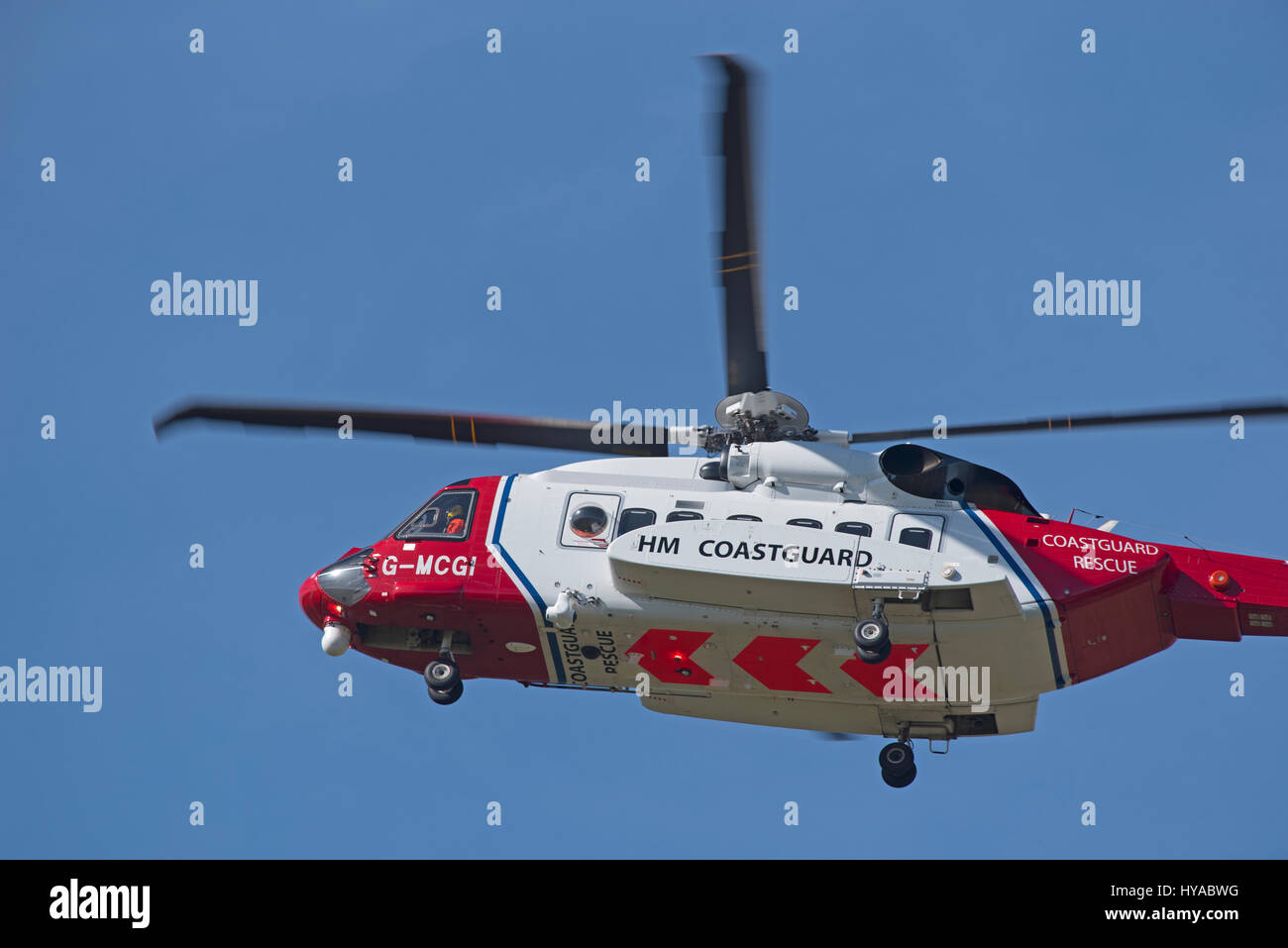 Sikorsky S92A Bristow helicopter G-MCGI operating for the UK Coastguard based at Inverness Airport Stock Photo