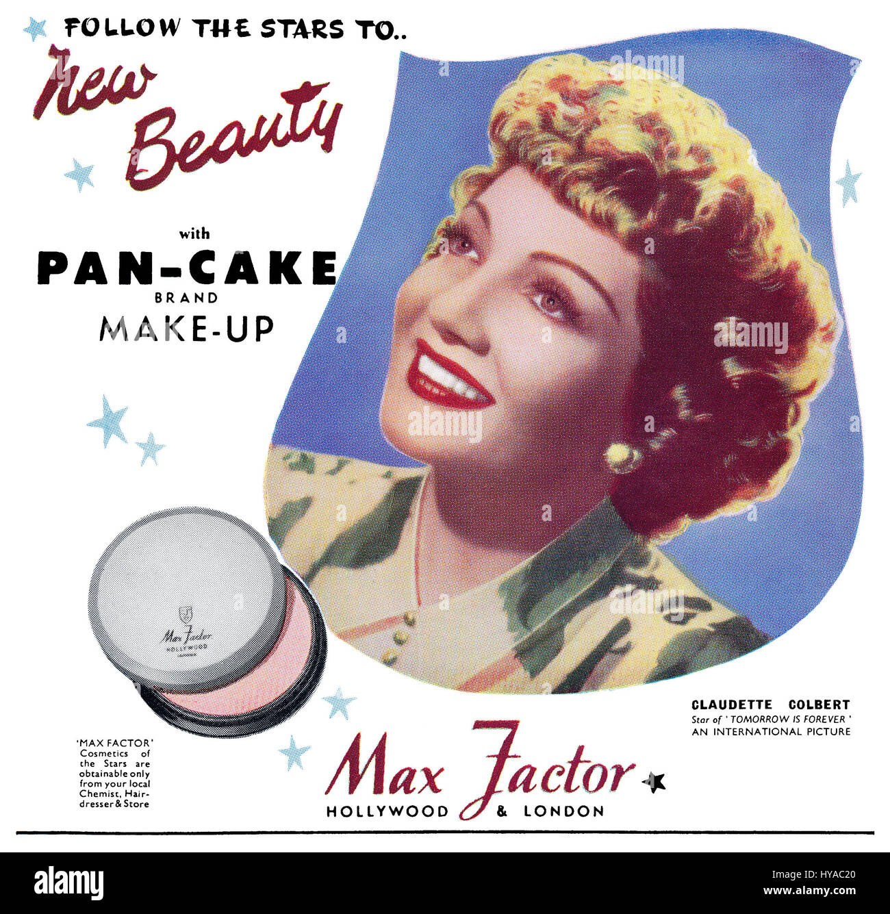 1946 British advertisement for Max Factor Pan-Cake Make-Up, featuring Hollywood actress Claudette Colbert. - Stock Image