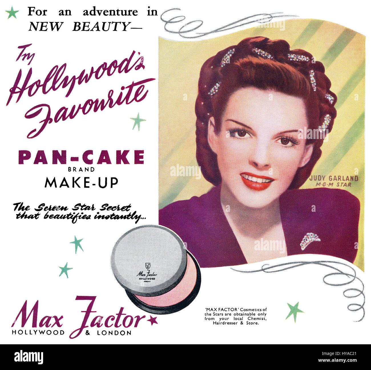 1946 British advertisement for Max Factor Pan-Cake Make-Up, featuring Hollywood actress Judy Garland. - Stock Image
