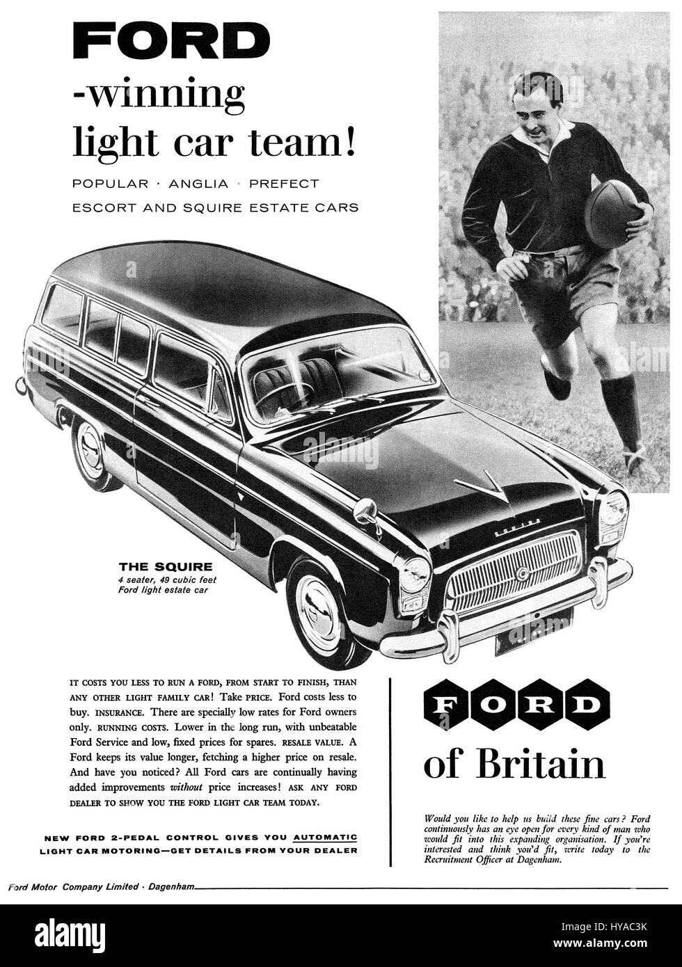 1958 British advertisement for the Ford Squire Estate Car. - Stock Image