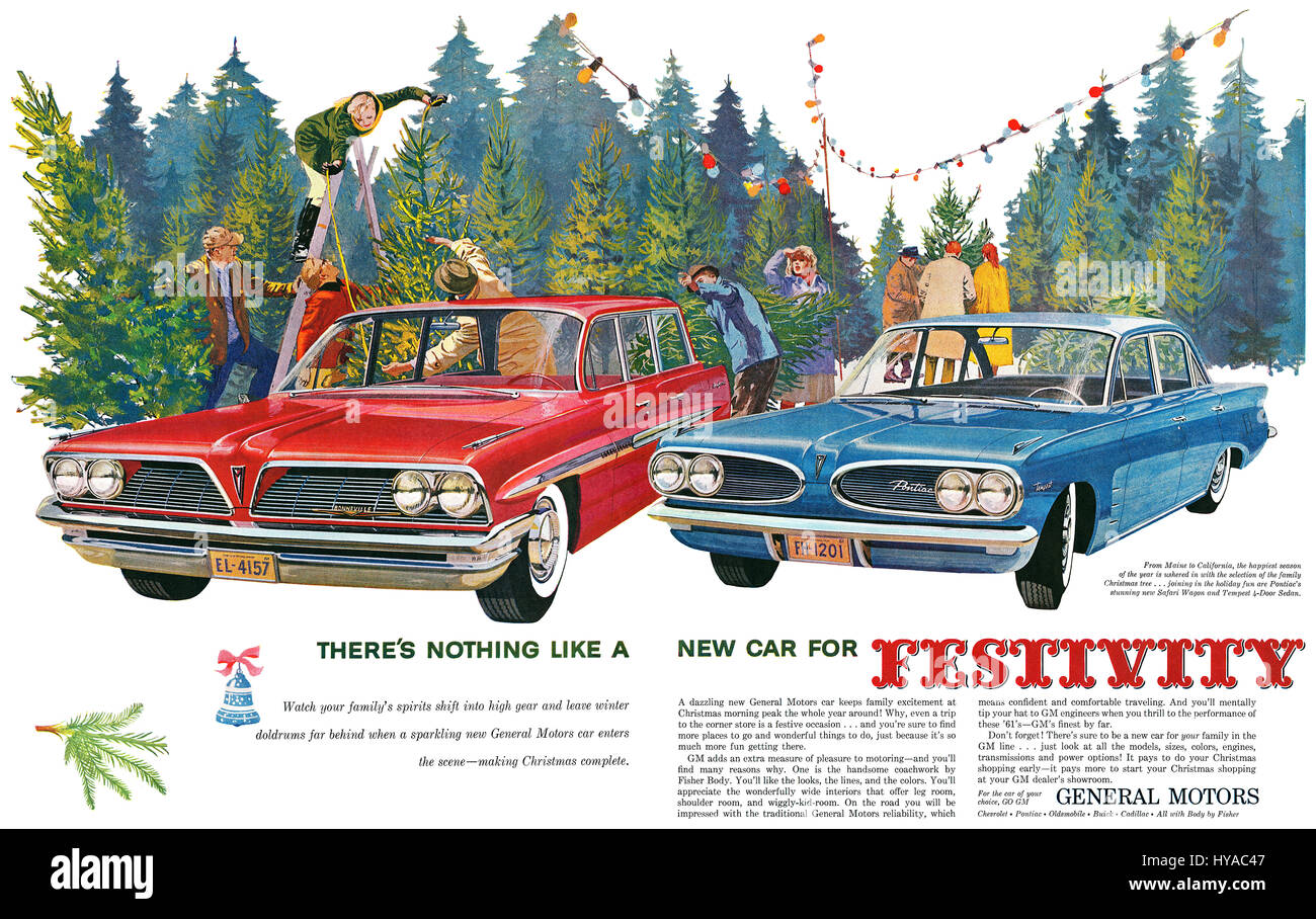 1960 U.S. double-page Christmas advertisement for General Motors. - Stock Image