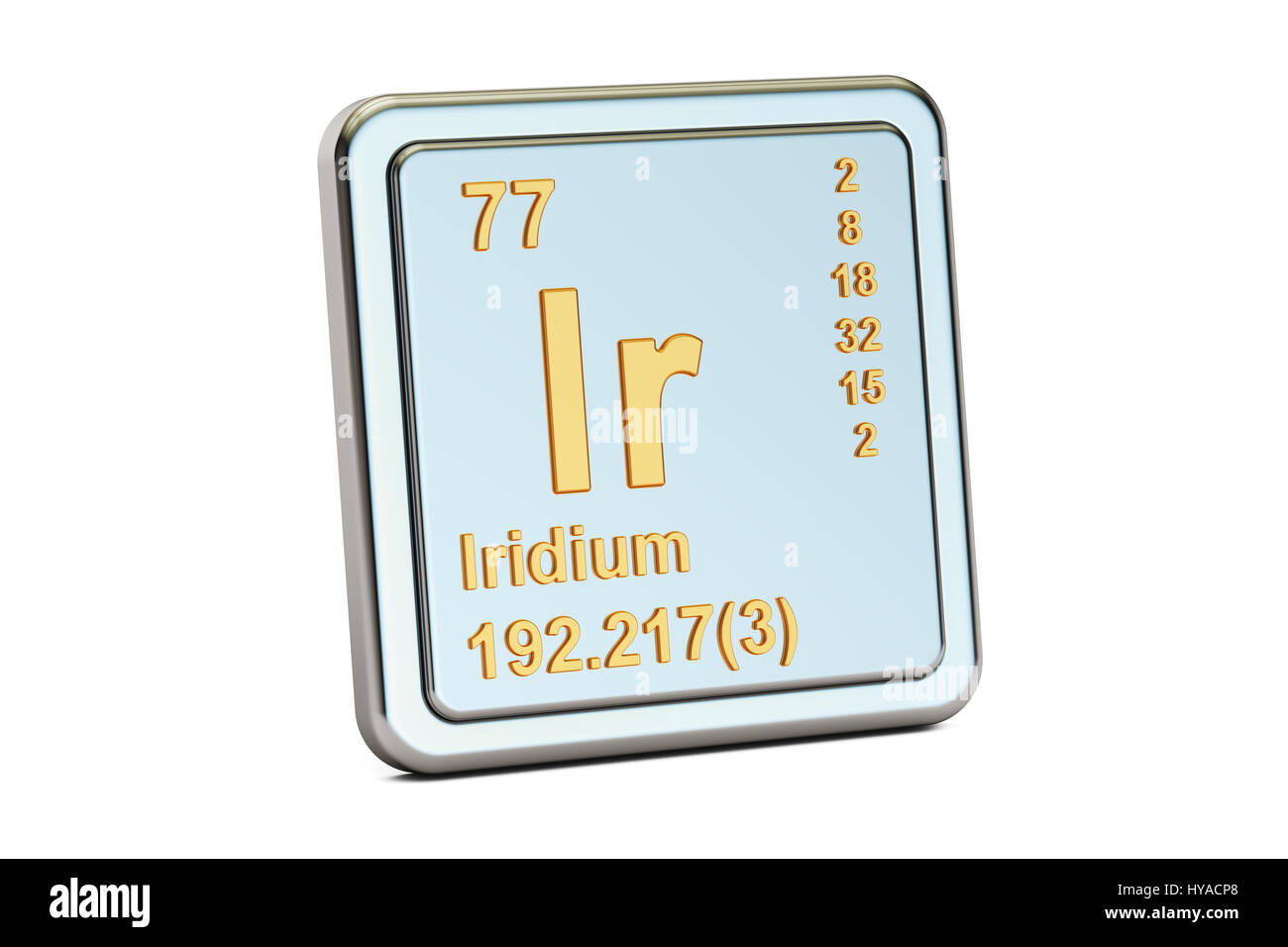 Iridium Ir Chemical Element Sign 3d Rendering Isolated On White