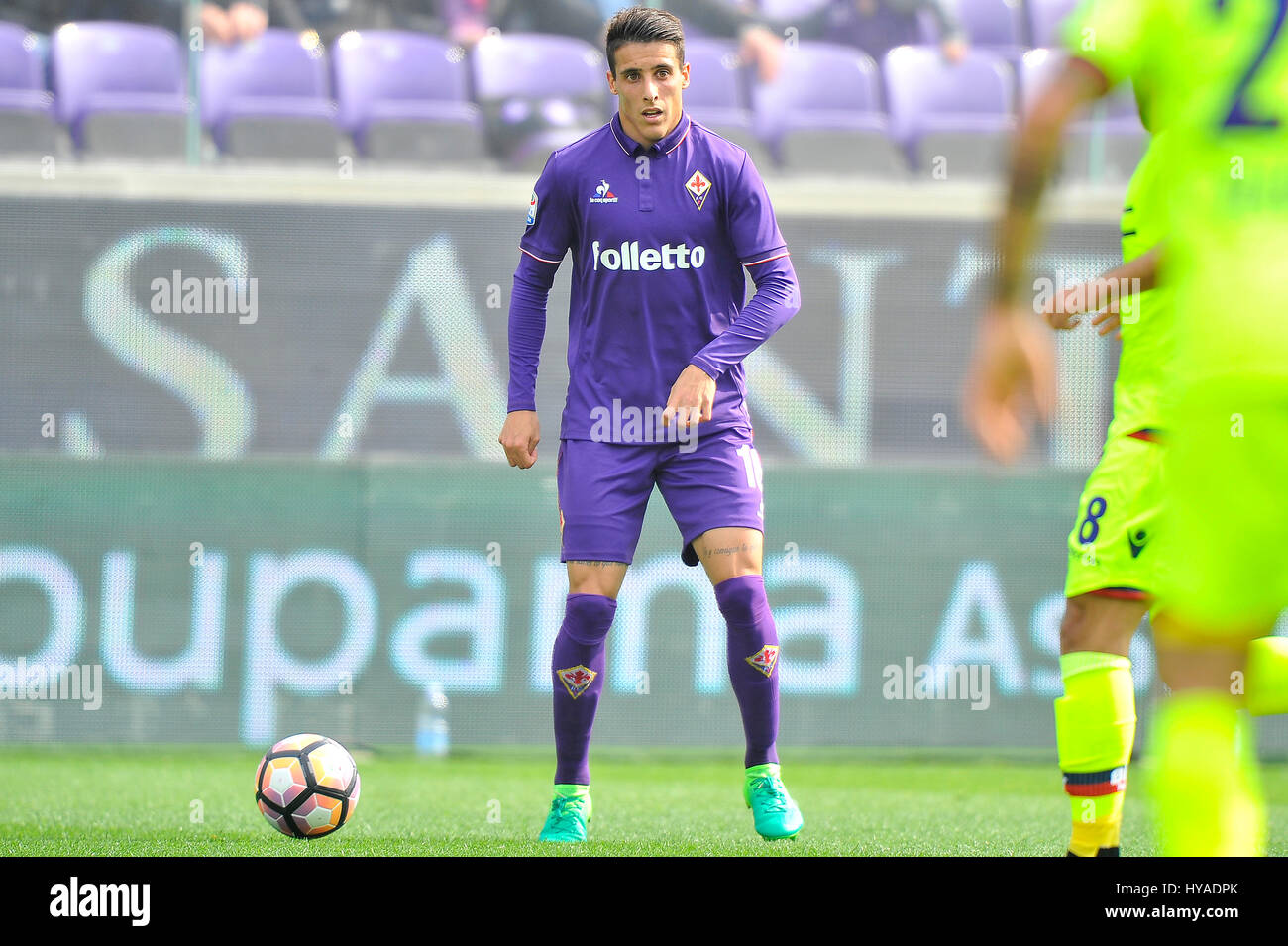 02nd Apr 2017 Acf Fiorentinas Cristian Tello In Action During The Italian Serie A Soccer Match Between Fiorentina And Bologna Fc At Artemio