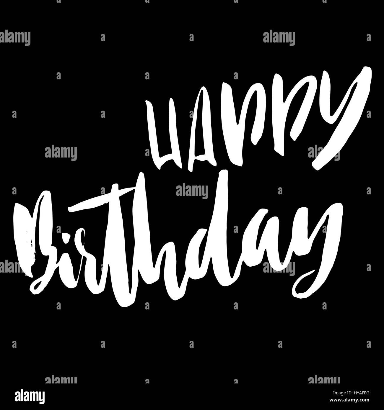 Romantic Happy Birthday Calligraphy Design Black and White