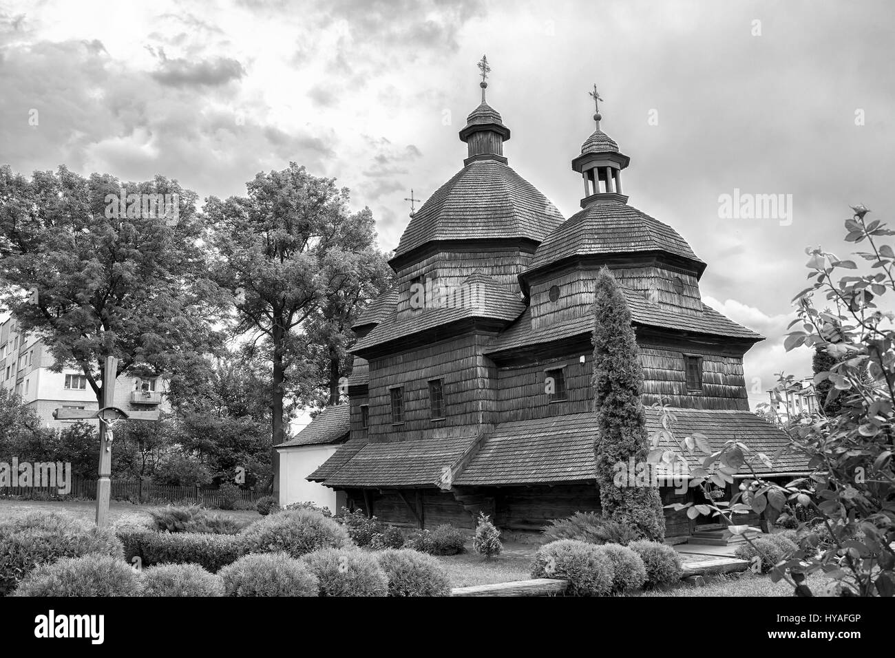 Wooden Holy Trinity Church in Zhovkva. UNESCO World Heritage. Black and white - Stock Image