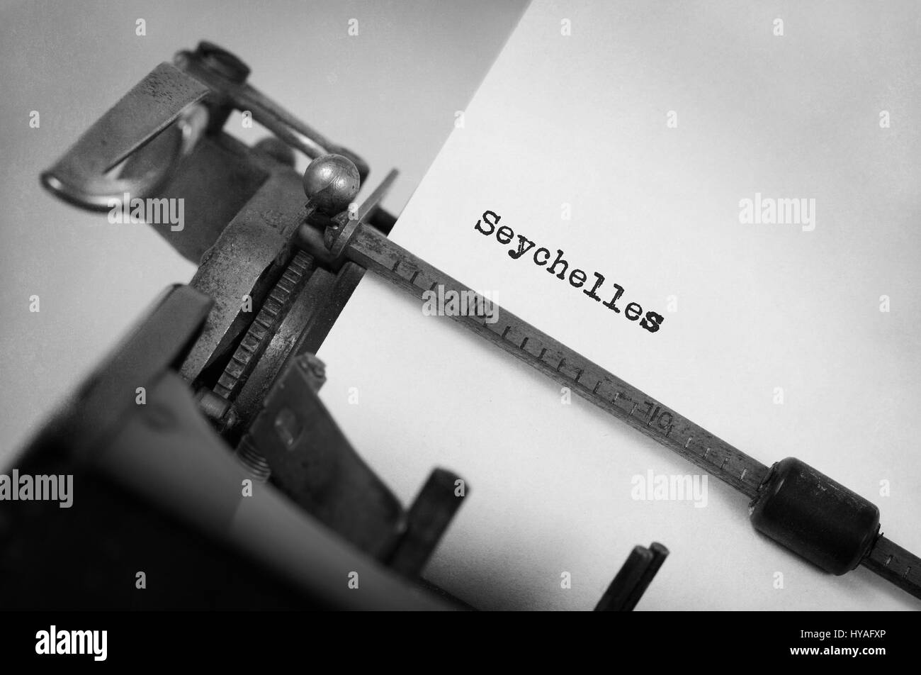 Inscription made by vintage typewriter, country, Seychelles - Stock Image