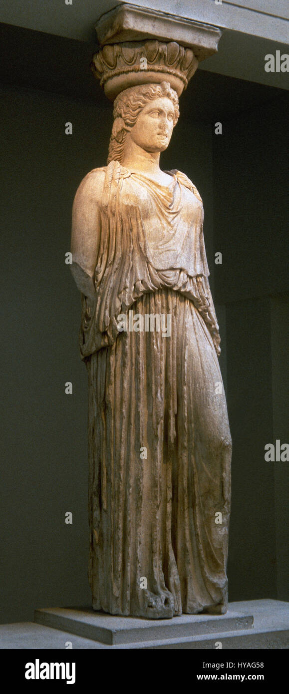 Caryatid from the Erechtheion (Acropolis of Athens), standing in contrapposto. 5th century BC. British Museum. London. - Stock Image