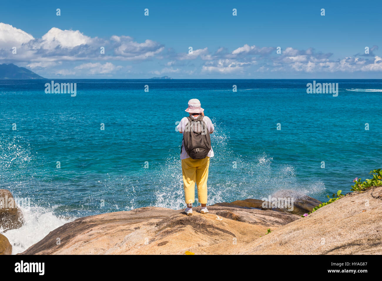 Anse Major, Mahe, Seychelles - December 16, 2015: Female tourist on the Anse Major Nature Trail in the hike near - Stock Image