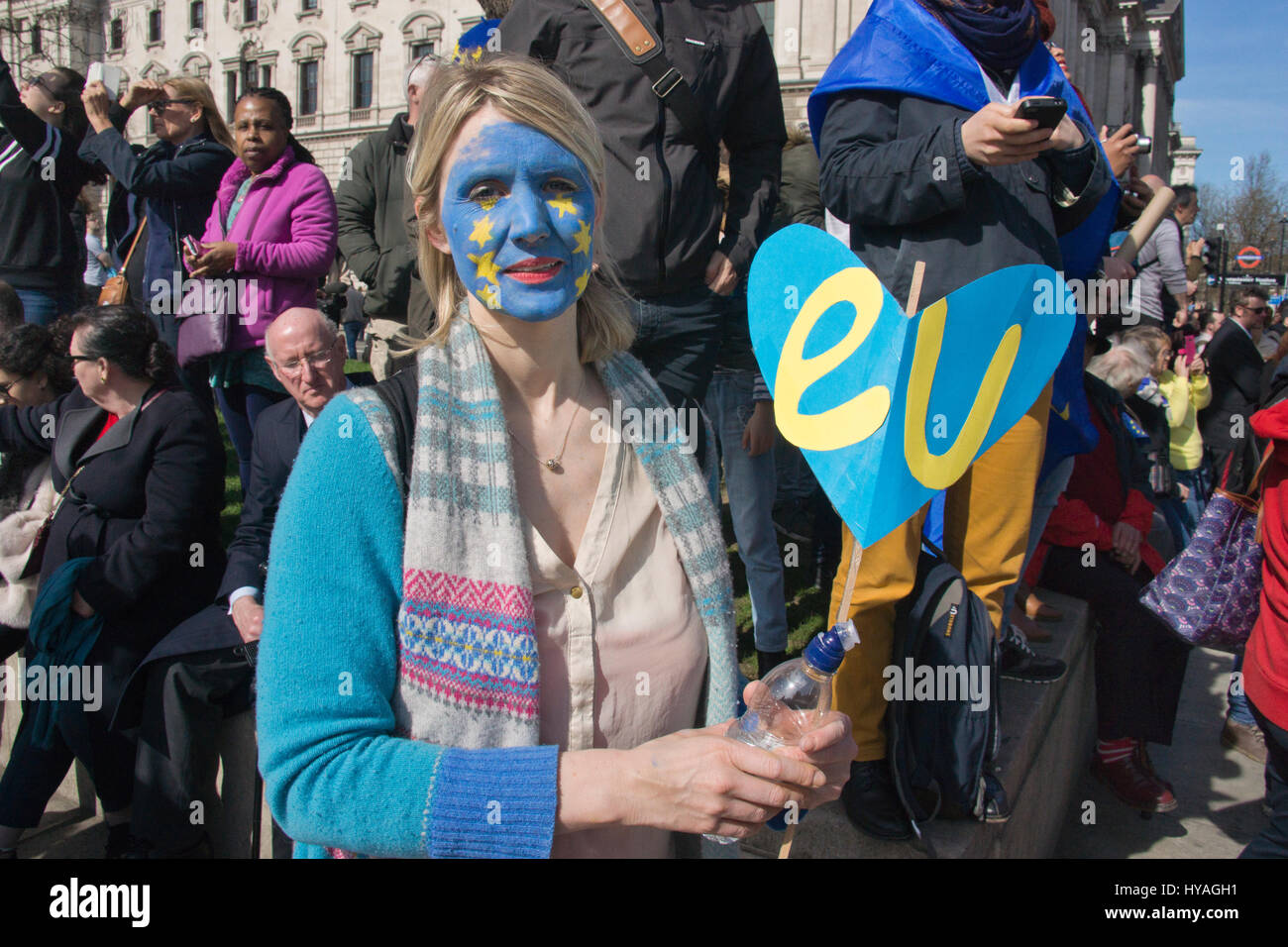 """London, UK. 25th Mar, 2017. EU supporters at Parliament Square. Thousands march in Central London to """"unite for Stock Photo"""