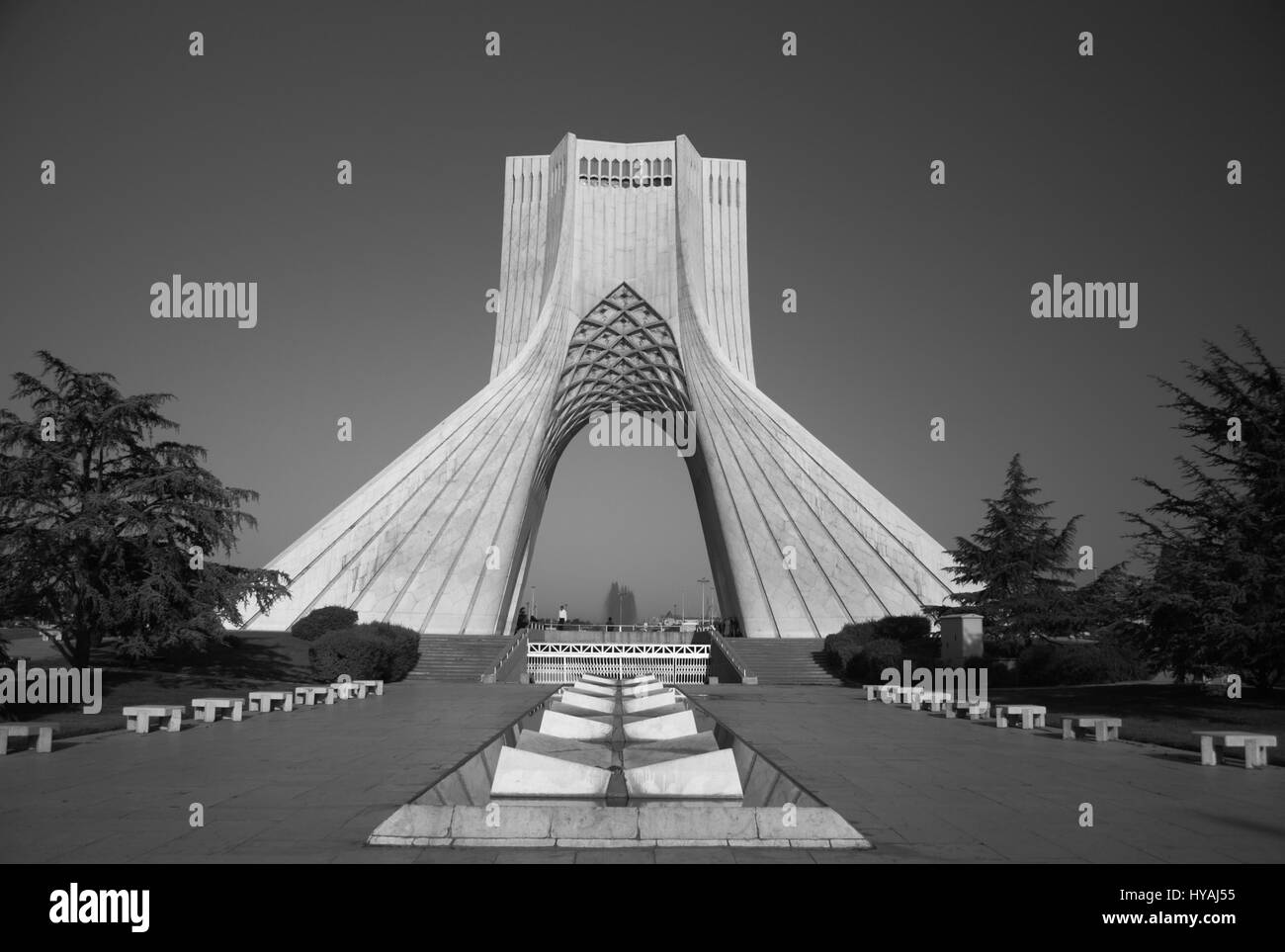 Monochrome image of the Azadi Tower, formerly Shahyad Tower, Azadi Square, Tehran, Islamic Republic of Iran - Stock Image