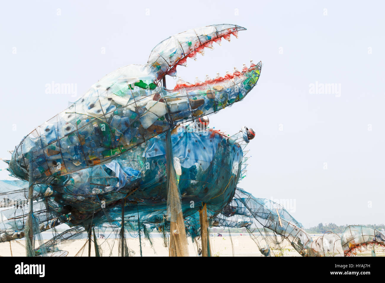 Claw of The Mad Crab, an installation or sculpture made of waste plastics to highlight environmental issues, on - Stock Image