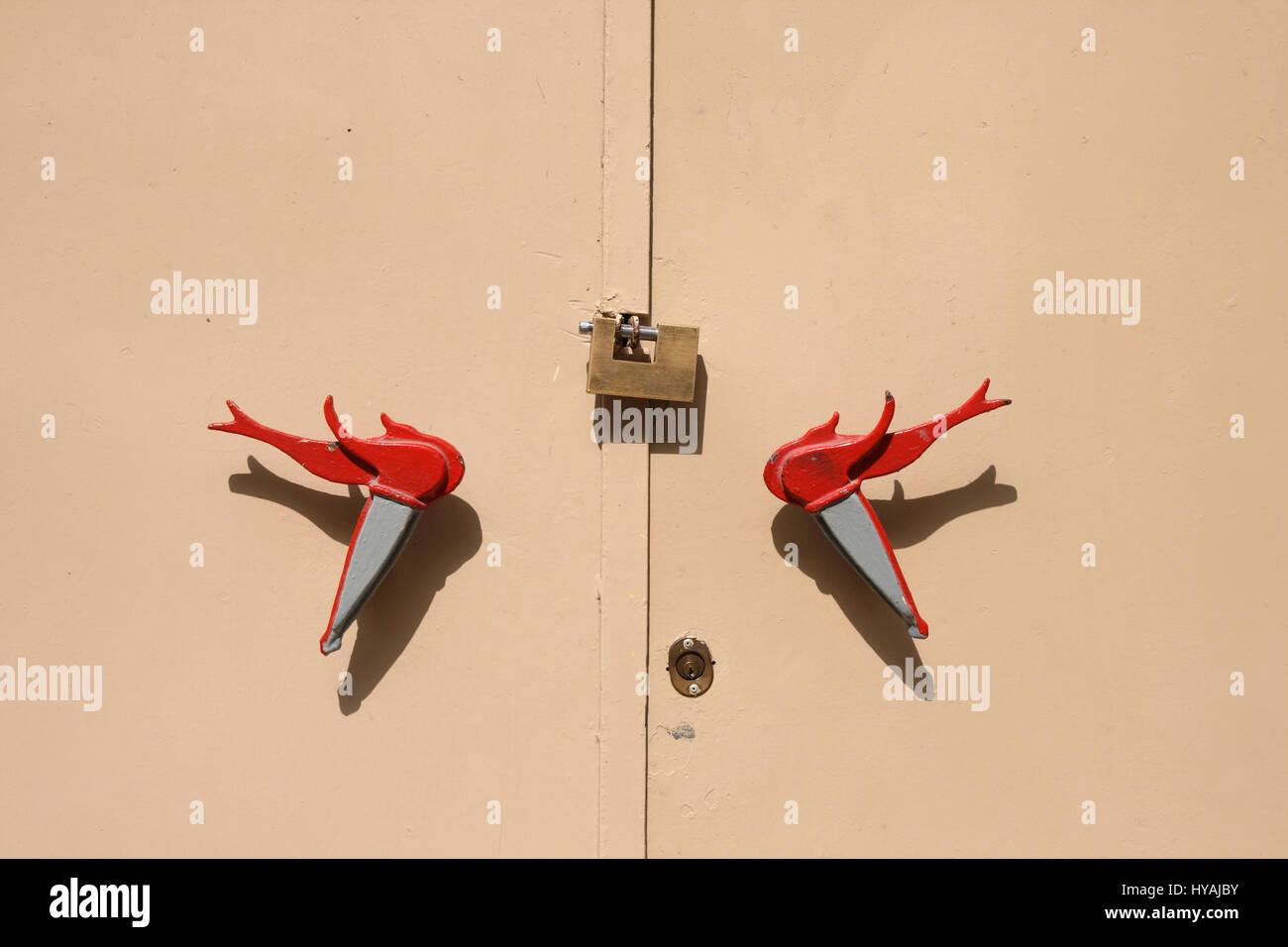 Malta, Safi, Ornate door handles on Labour party headquarters. - Stock Image