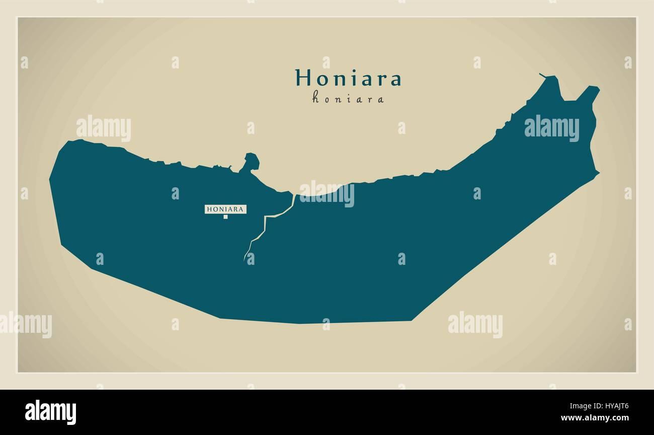 Modern Map - Honiara SB - Stock Image