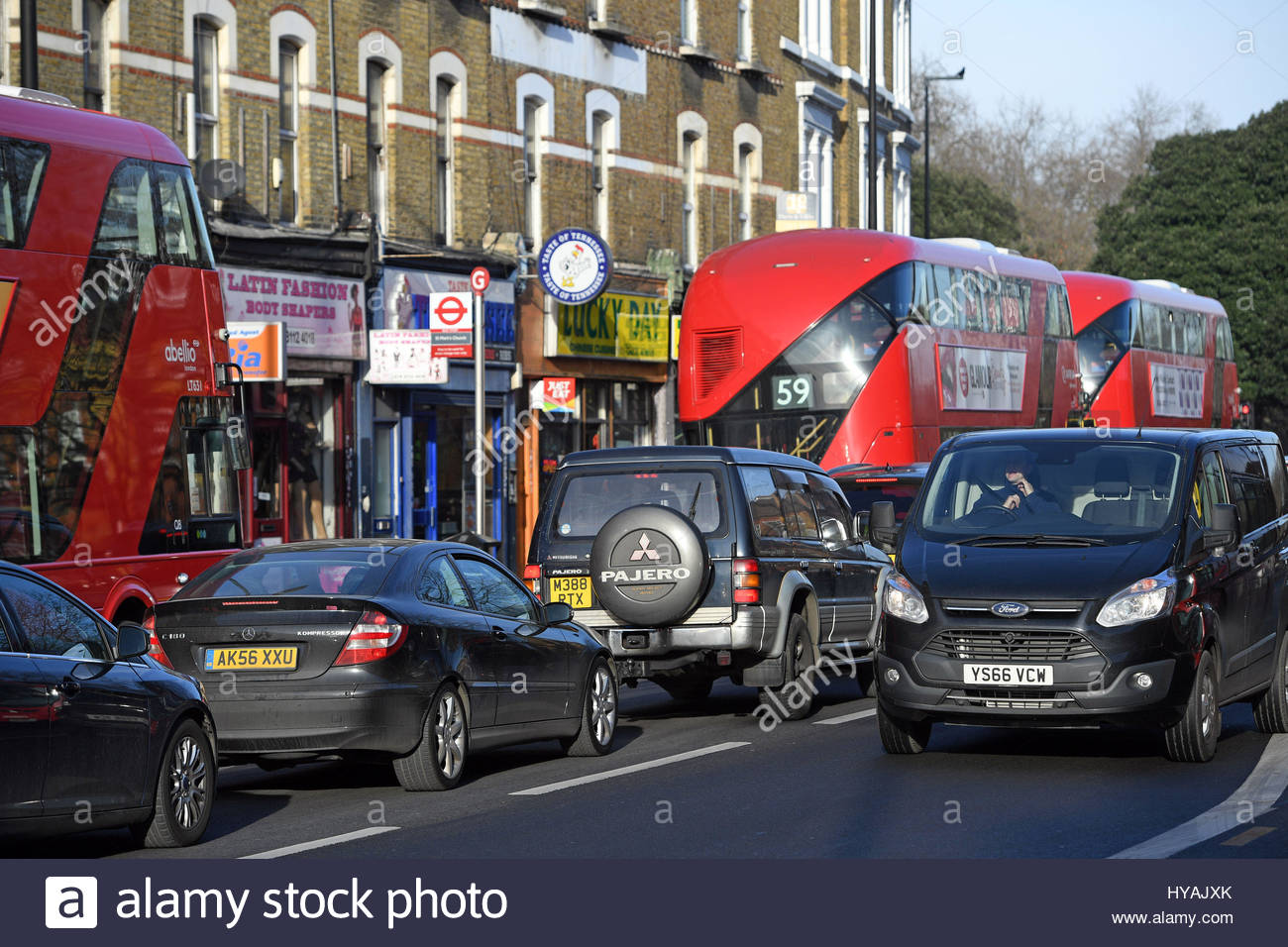 File photo dated 6/1/2017 of Traffic on Brixton Road in Lambeth, London. Plans to speed up the expansion of tougher - Stock Image