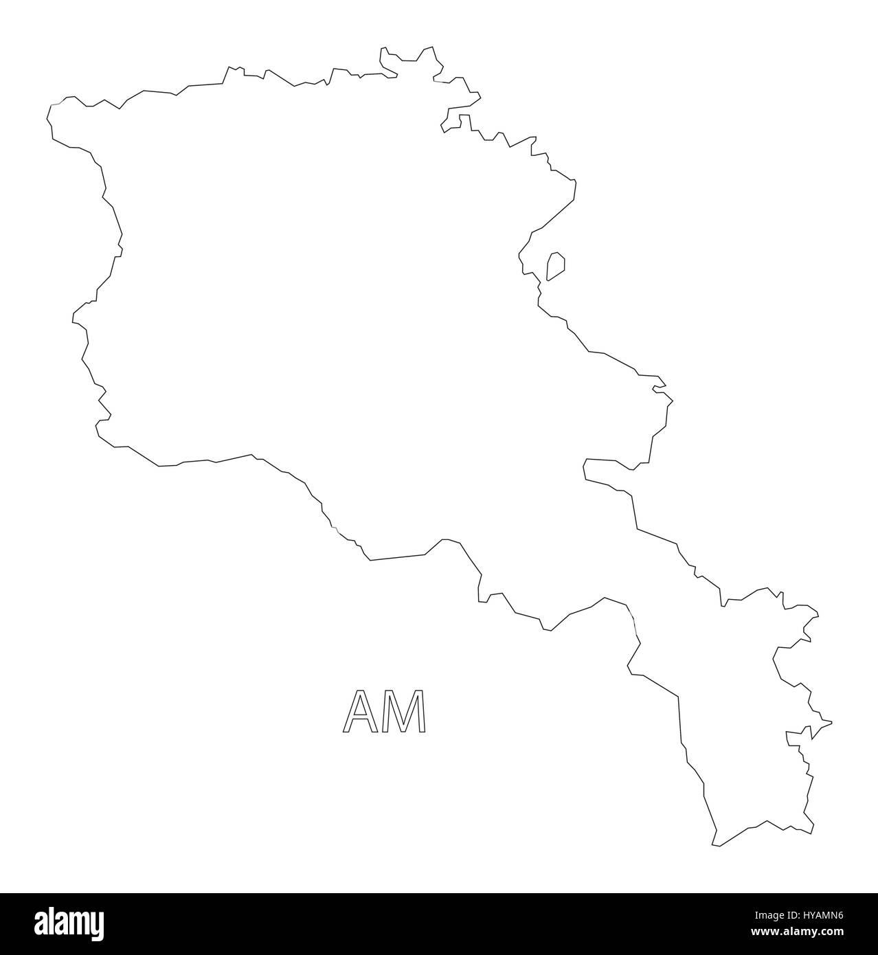 Armenia outline silhouette map illustration - Stock Image
