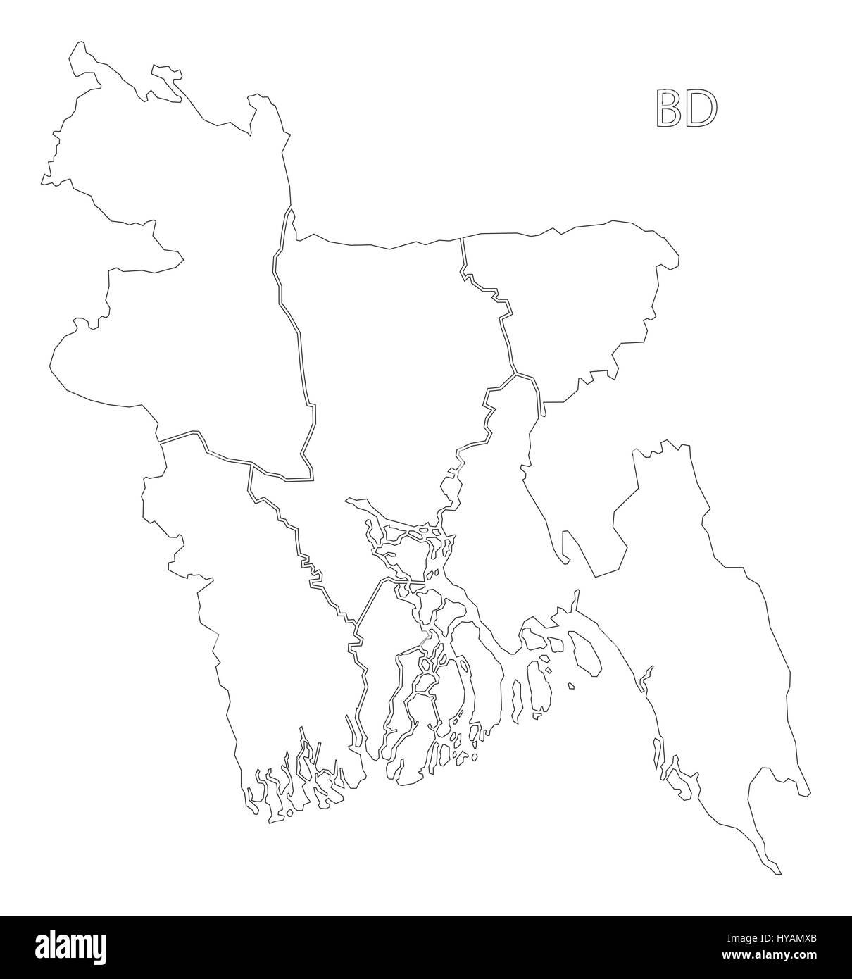 Bangladesh Map Outli