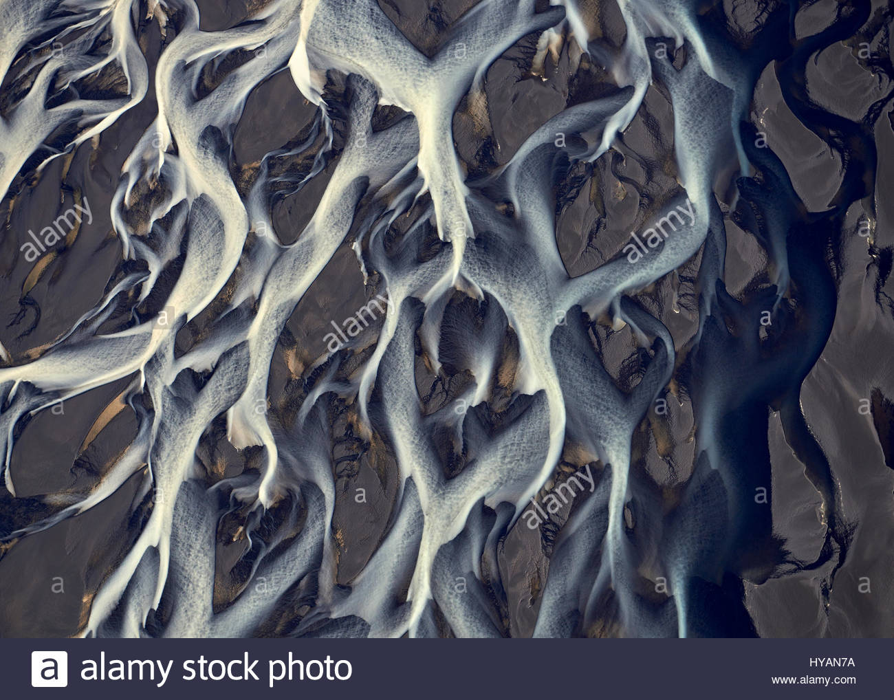 ICELAND WILDERNESS: Pictures of Iceland's river system from above. Like a scene from a sci-fi movie you could be - Stock Image