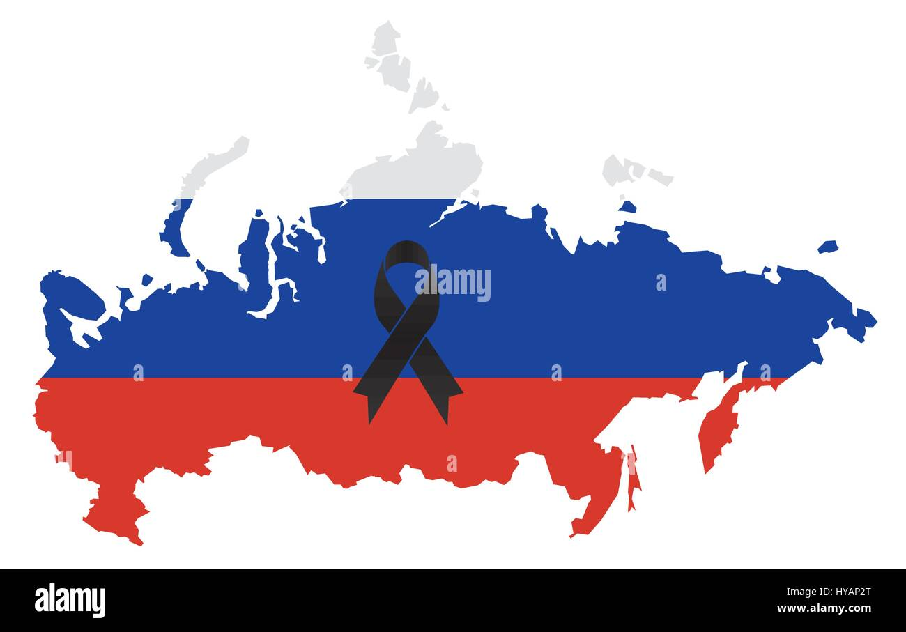 Russia condolence map - black ribbon with Russian flag - Stock Vector