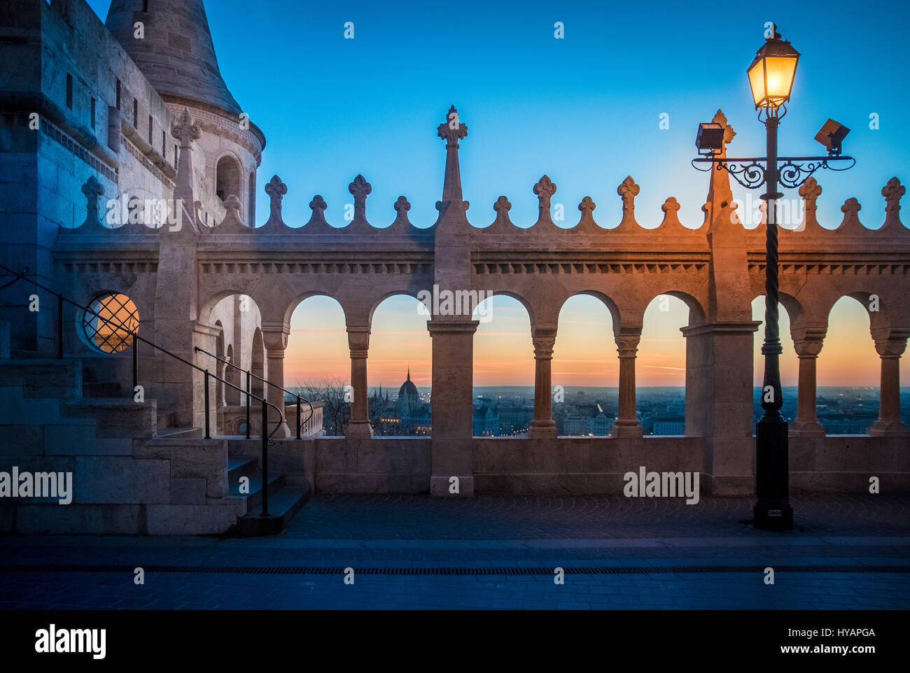 Fishermans bastion, a major tourist atraction in Budapest, Hungary at dawn. - Stock Image