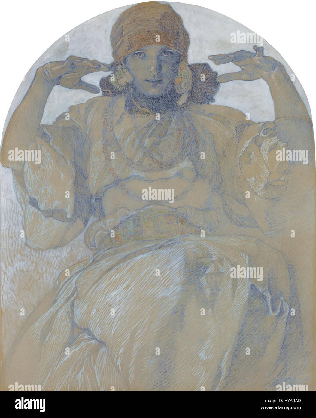 Jaroslava Mucha by Alphonse Mucha (1860 1939) - Stock Image