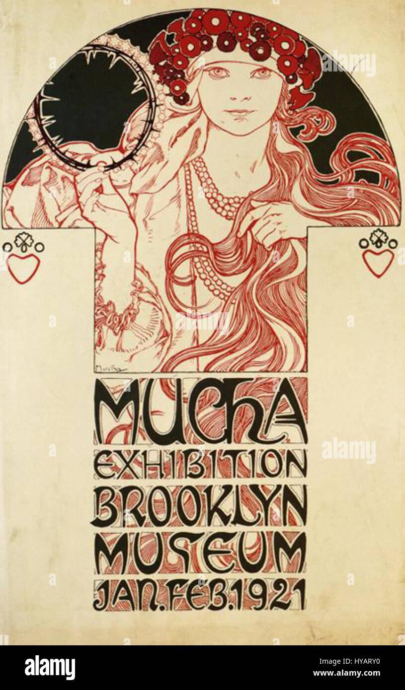 Mucha Exhibition Brooklyn Museum 1921 - Stock Image