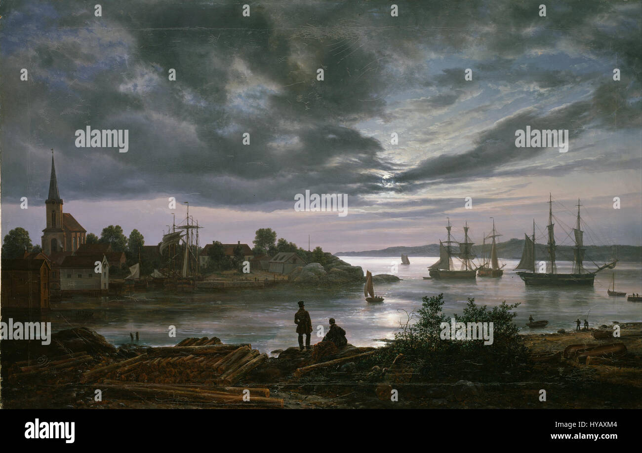 Johan Christian Dahl   Larvik by Moonlight   Google Art Project Stock Photo
