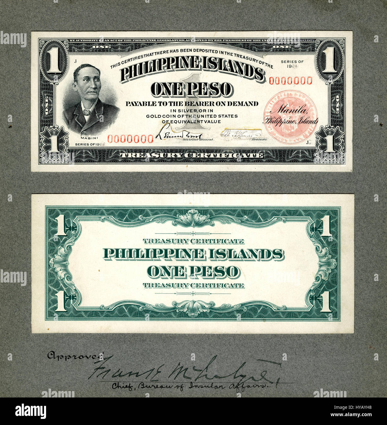 certificate treasury peso philippine 1924 phi 68c islands alamy proof