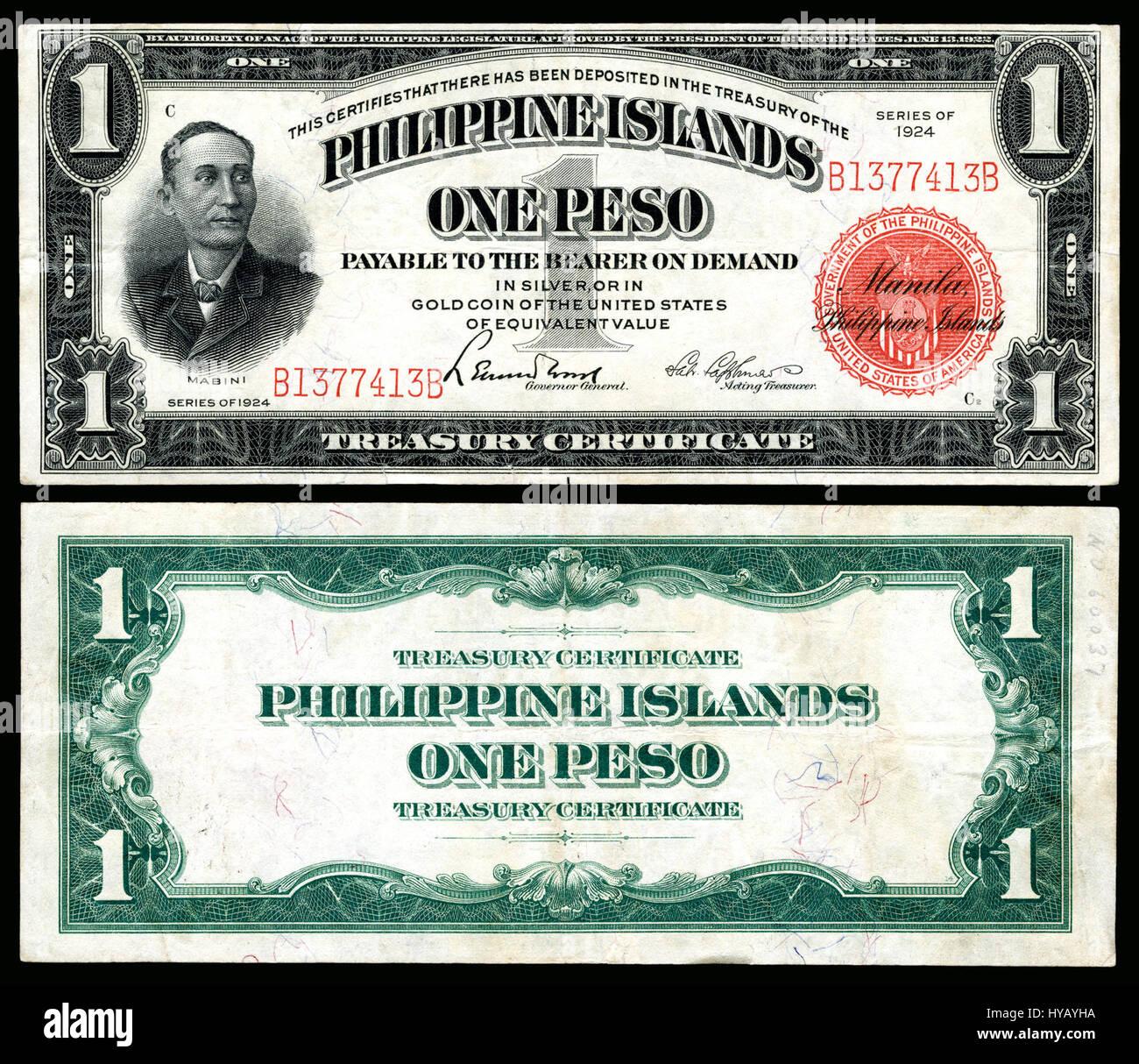 certificate treasury peso philippine 1924 68c phi islands alamy japanese trading
