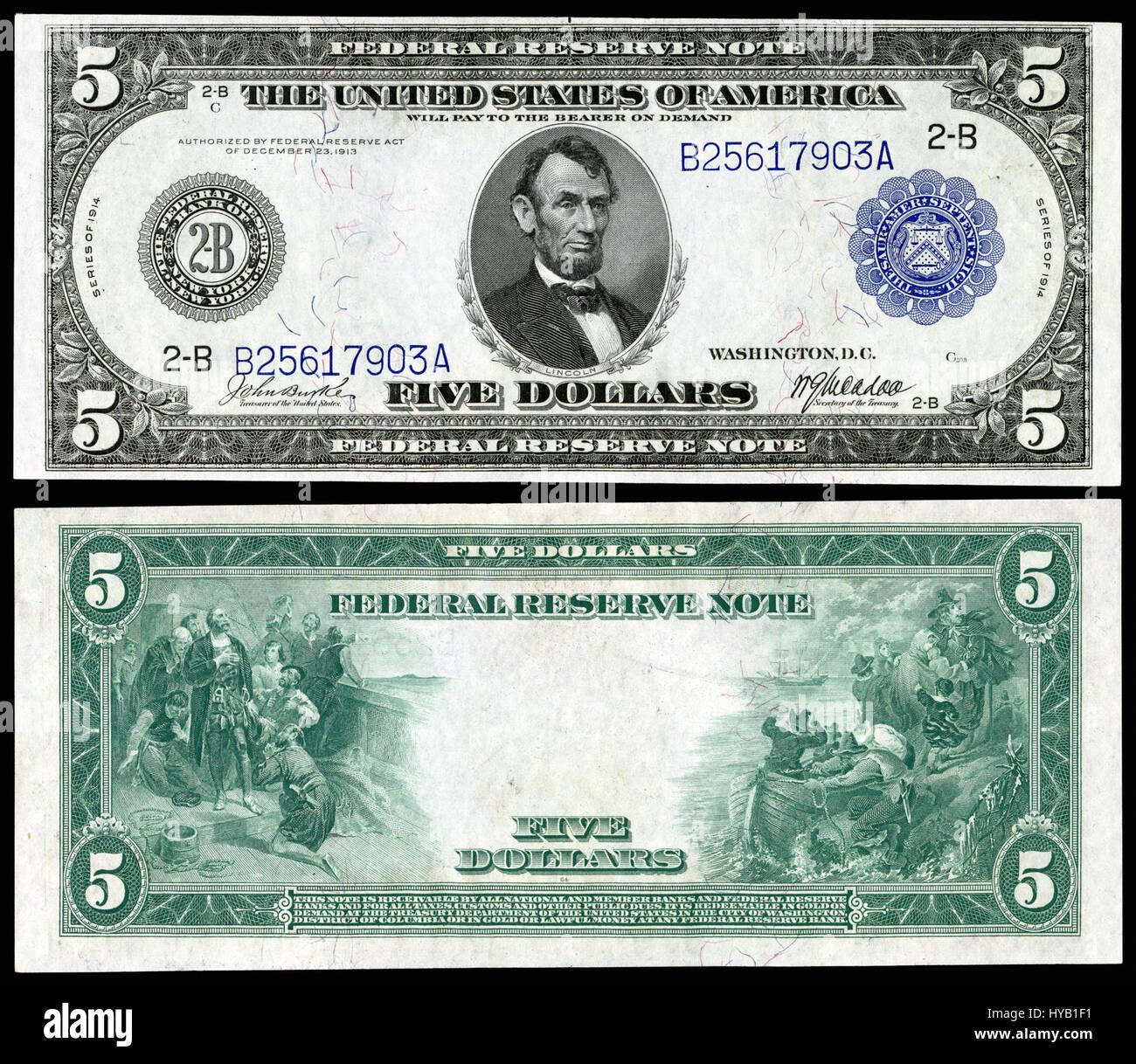 US $5 FRN 1914 Fr 848 - Stock Image