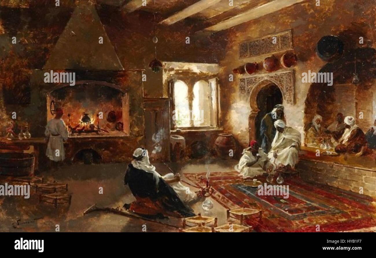 Enrique Simonet   Fumando shisha en la teteria   1892 Stock Photo