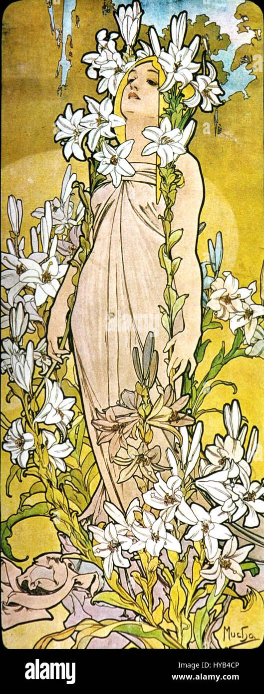 Alfons Mucha   1898   The Flowers Lily - Stock Image