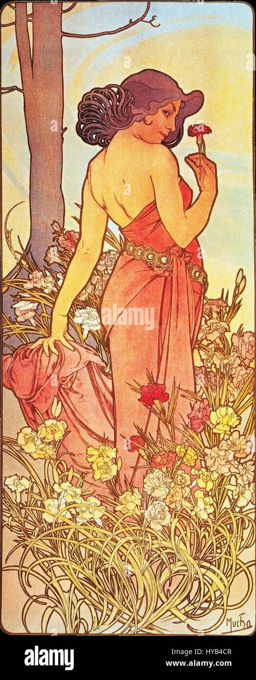 Alfons Mucha   1898   The Flowers Carnation - Stock Image