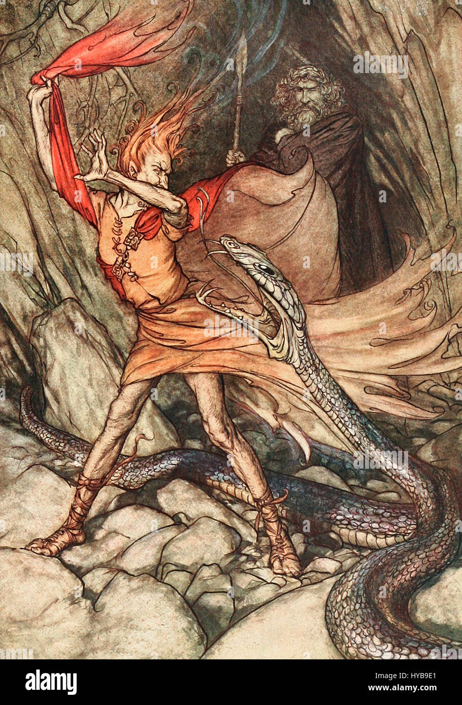 Oh! Oh! Horrible dragon, O swallow me not! Spare the life of poor Loge! - Scene from Das Rheingold of Der Ring des Stock Photo